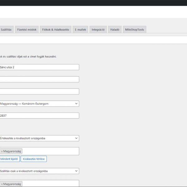 Webáruház WooCommerce beállítások